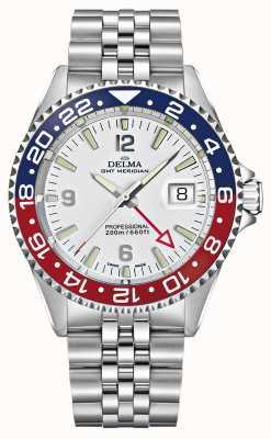 Delma Kwarts GMT | tweekleurige bezel | roestvrijstalen armband | 41701.648.6.P014