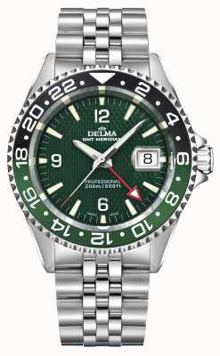 Delma Kwarts GMT | tweekleurige bezel | roestvrij stalen armband 41701.648.6.144