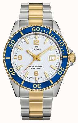 Delma Santiago kwarts | tweekleurige stalen armband | witte wijzerplaat 52701.562.6.014