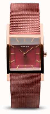 Bering Dames klassiek | gepolijst rose goud | rode mesh armband 10426-363-S