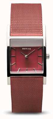Bering Dames klassiek | gepolijst zilver | blauwe mesh armband 10426-303-S