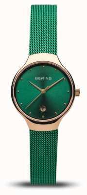Bering Dames klassiek | groene mesh band | gepolijst roségoud 13326-868