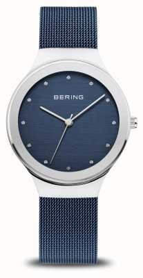 Bering Klassieker voor dames | gepolijst zilver | blauwe mesh band 12934-307