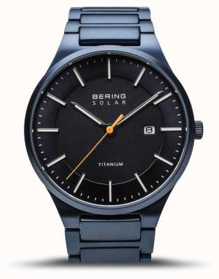 Bering Heren titanium | geborsteld blauw | blauwe titanium band 15239-797