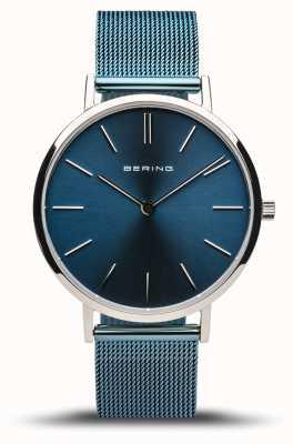 Bering Dames klassiek | gepolijst zilver | blauwe mesh armband 14134-308