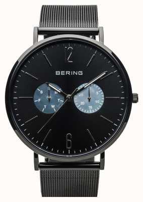 Bering Unisex klassiek | gepolijst zwart | zwarte mesh band 14240-123