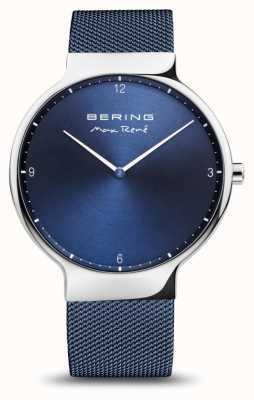 Bering Max rené | gepolijst zilver | blauwe mesh band 15540-307