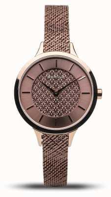 Bering Dames klassiek | gepolijste roos | roségouden mesh armband 17831-265