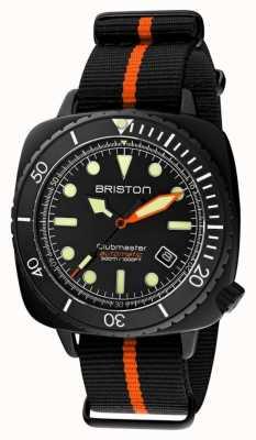 Briston Clubmaster duiker pro | zwart / oranje nato band | zwarte wijzerplaat 20644.PBAM.B.35.NBO