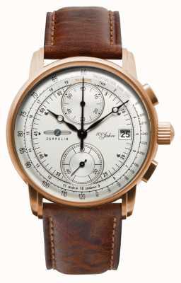 Zeppelin | heren | 100 jaar | chronograaf | bruine leren band | 8672-1