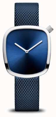 Bering Klassiek | kiezel | blauwe mesh band | blauwe wijzerplaat 18034-307