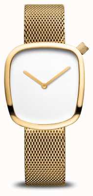 Bering Klassiek | kiezel | gouden mesh armband | witte wijzerplaat 18034-364