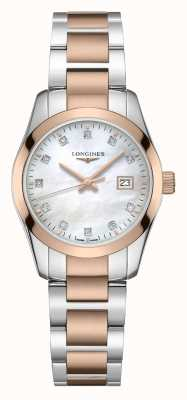 Longines Conquest klassieker | vrouwen | Zwitsers kwarts | twee toon L22863877