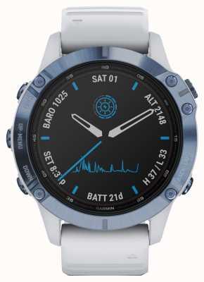 Garmin Fenix 6 pro solar | titanium mineraal blauw witte rubberen band 010-02410-19