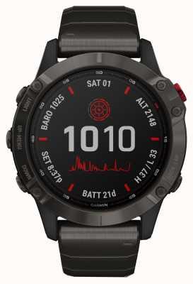 Garmin Fenix 6 pro solar | titanium carbon grijze dlc armband 010-02410-23