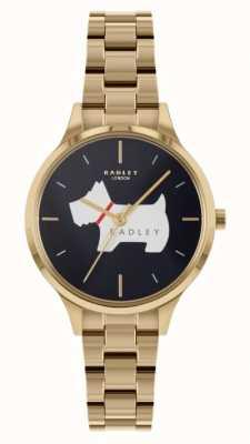 Radley Meridanplaats | goudkleurige stalen armband | blauwe wijzerplaat RY4520