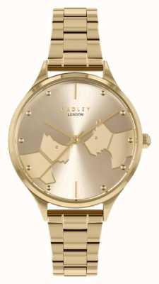 Radley Van aangezicht tot aangezicht | goudkleurige stalen armband | gouden wijzerplaat RY4516