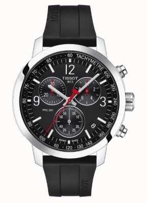 Tissot Prc 200 | chronograaf | zwarte wijzerplaat | zwarte rubberen band T1144171705700