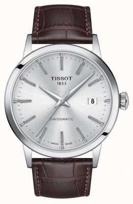 Tissot | swissmatic | zilveren wijzerplaat | bruine leren band | T1294071603100