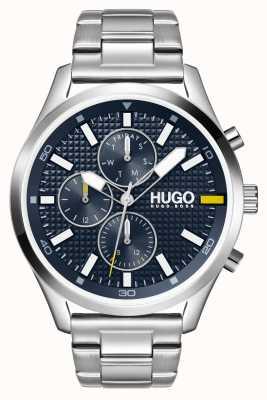 HUGO Heren #chase | blauwe wijzerplaat | roestvrij stalen horloge 1530163