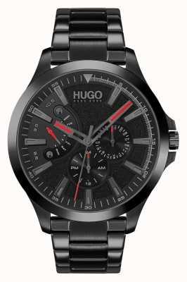 HUGO #leap casual | zwarte wijzerplaat | zwarte ip armband 1530175