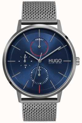 HUGO #bestaande zaken | blauwe wijzerplaat | grijze ip mesh band 1530171