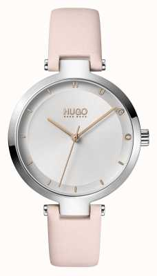 HUGO Dames #hoop casual | zilveren wijzerplaat | blush lederen band 1540074