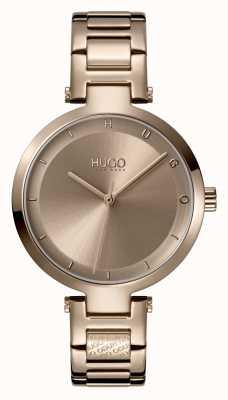 HUGO Dames #hoop casual | beige wijzerplaat | beige ip stalen armband 1540077