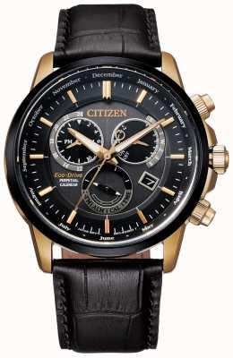 Citizen Herenhorloge met eeuwigdurende kalender, zwart en roségoud, zwart lederen horloge BL8156-12E