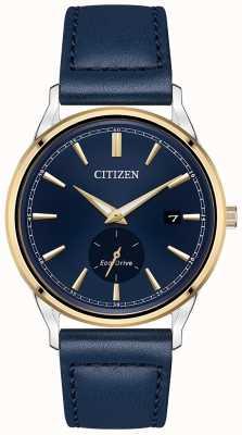 Citizen Herenhorloge eco-drive roestvrijstalen gouden ip blauwe lederen band horloge BV1114-18L