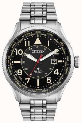 Citizen Promaster nighthawk herenhorloge van roestvrij staal met zwarte wijzerplaat BX1010-53E