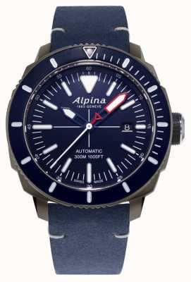 Alpina Seastrong diver 300 automatisch | marineblauwe leren band | AL-525LNN4TV6