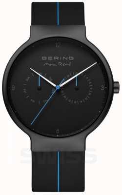Bering Max rene voor heren | zwarte siliconen band | zwart / blauwe wijzerplaat 15542-428