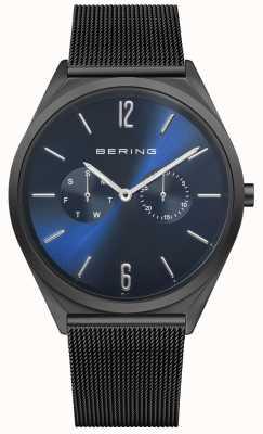 Bering Ultradun | zwarte stalen mesh armband | blauwe wijzerplaat 17140-227