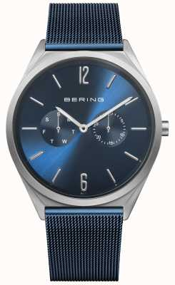 Bering Ultradun | blauwe stalen mesh band | blauwe wijzerplaat 17140-307