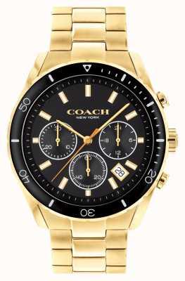 Coach Preston voor heren | vergulde stalen armband | zwarte wijzerplaat 14602517