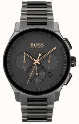 BOSS Herenpiek | grijze roestvrijstalen ip-armband | grijze wijzerplaat 1513814