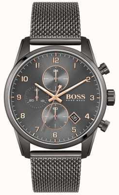 BOSS Skymaster sport lux | zwarte ip mesh armband | zwarte wijzerplaat 1513837