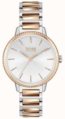 BOSS Handtekening voor dames | tweekleurige stalen armband | zilveren wijzerplaat 1502567