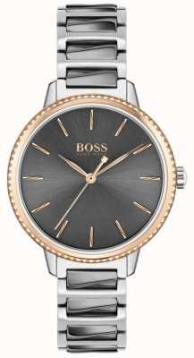 BOSS Handtekening voor dames | tweekleurige stalen armband | grijze wijzerplaat 1502569