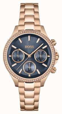 BOSS Hera voor dames | roségouden stalen armband | blauwe wijzerplaat 1502566