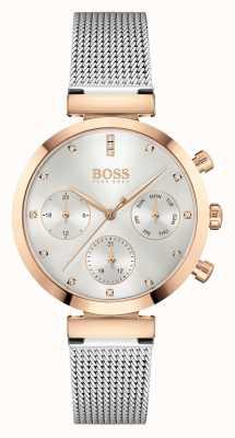 BOSS Onberispelijk voor dames | stalen mesh armband | zilveren wijzerplaat 1502551