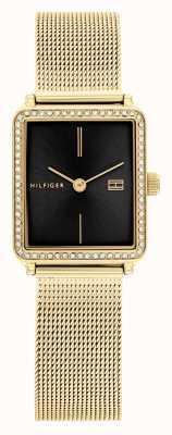 Tommy Hilfiger Thee voor vrouwen | vergulde mesh armband | zwarte vierkante wijzerplaat 1782295