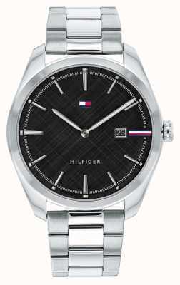 Tommy Hilfiger Theo voor heren | zilveren roestvrijstalen armband | zwarte wijzerplaat 1710440