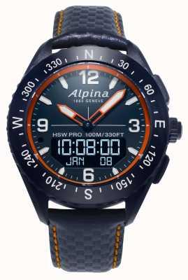 Alpina Alpinerx smartwatch marineblauwe leren band AL-283LNO5NAQ6L