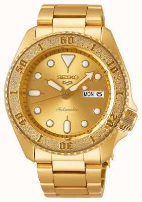 Seiko 5 sport heren goudkleurige armband gouden wijzerplaat SRPE74K1