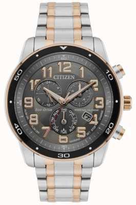 Citizen Eco-drive eeuwigdurende kalender met alarm chronograaf voor heren, tweekleurige zwarte wijzerplaat BL5516-58H