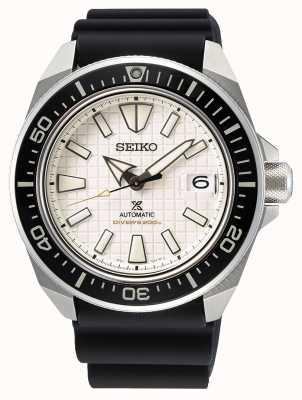 Seiko Prospex heren | zwarte siliconen band | beige wijzerplaat SRPE37K1
