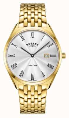 Rotary Ultraslank heren | vergulde stalen armband | zilveren wijzerplaat GB08013/01