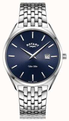 Rotary Ultraslank horloge met zilverblauwe wijzerplaat GB08010/05